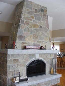 Fireplace Design: Natural Stone Fireplace. Special Order Woodbury Gray  Granite Hearth And Fireplace Mantel