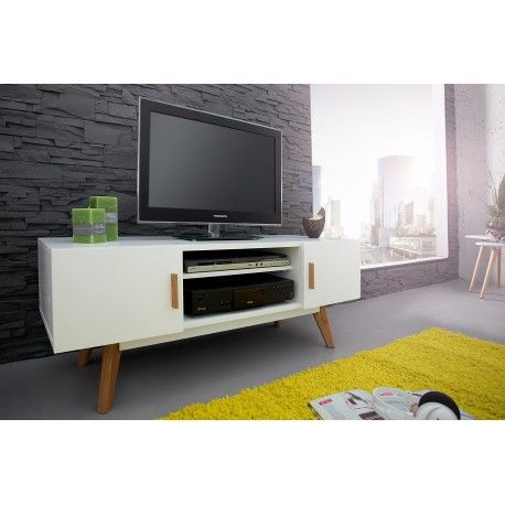 Livraison rapide - Magnifique meuble TV blanc fait en MDF laqué, se - Meuble Tv Avec Rangement