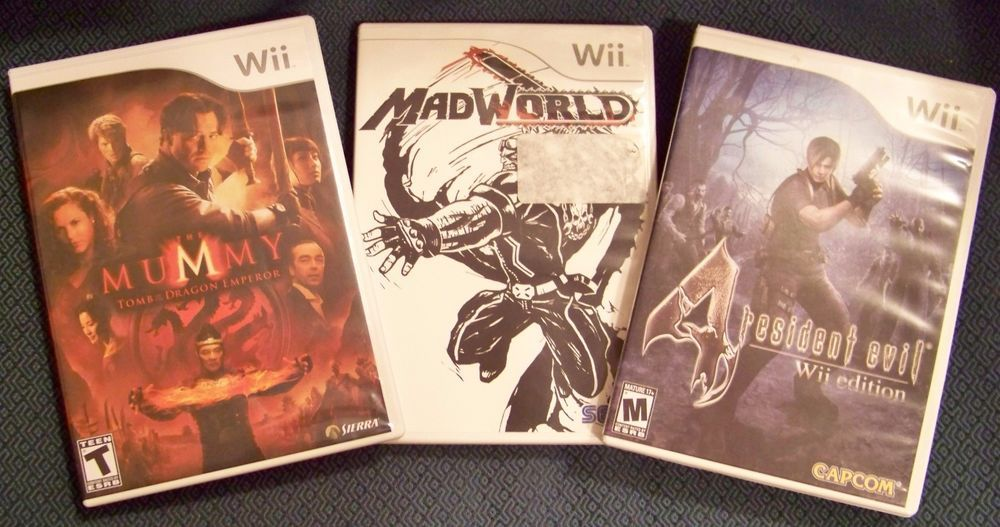 3 Wii Video Games Mummy Rated T Mad World Rated M Resident