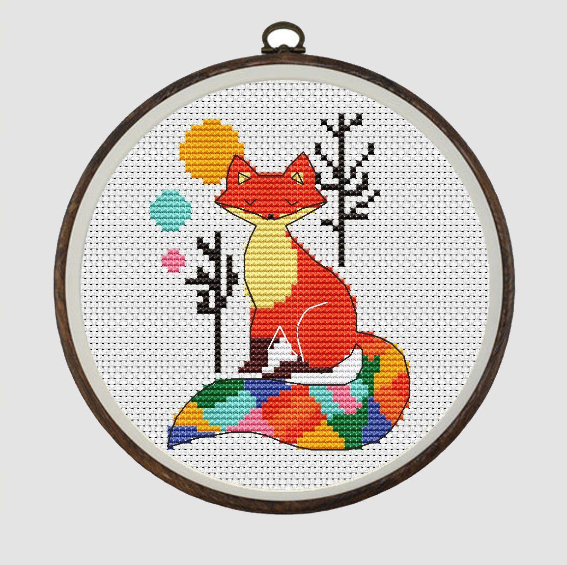Fox geometric cross stitch pattern pdf cross stitch