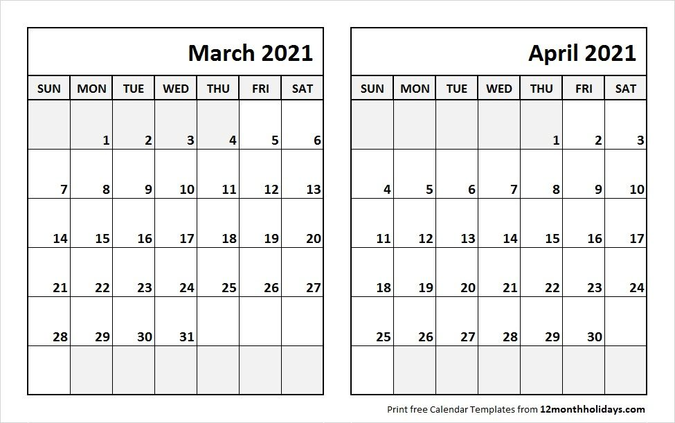 Print March April 2021 Calendar Template | 2 Month Calendar in