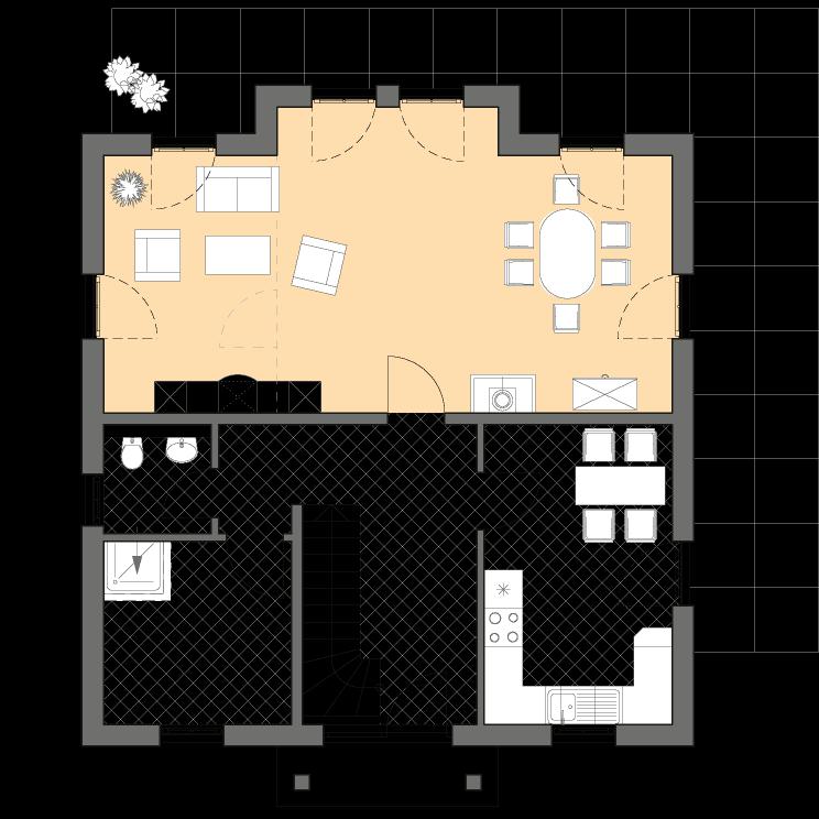 Stadtvillen | Villa Lugana, Grundriss Erdgeschoss