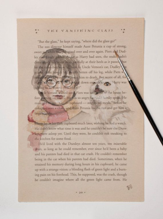 Original Harry Potter And Hedwig Watercolor Book Page Illustration