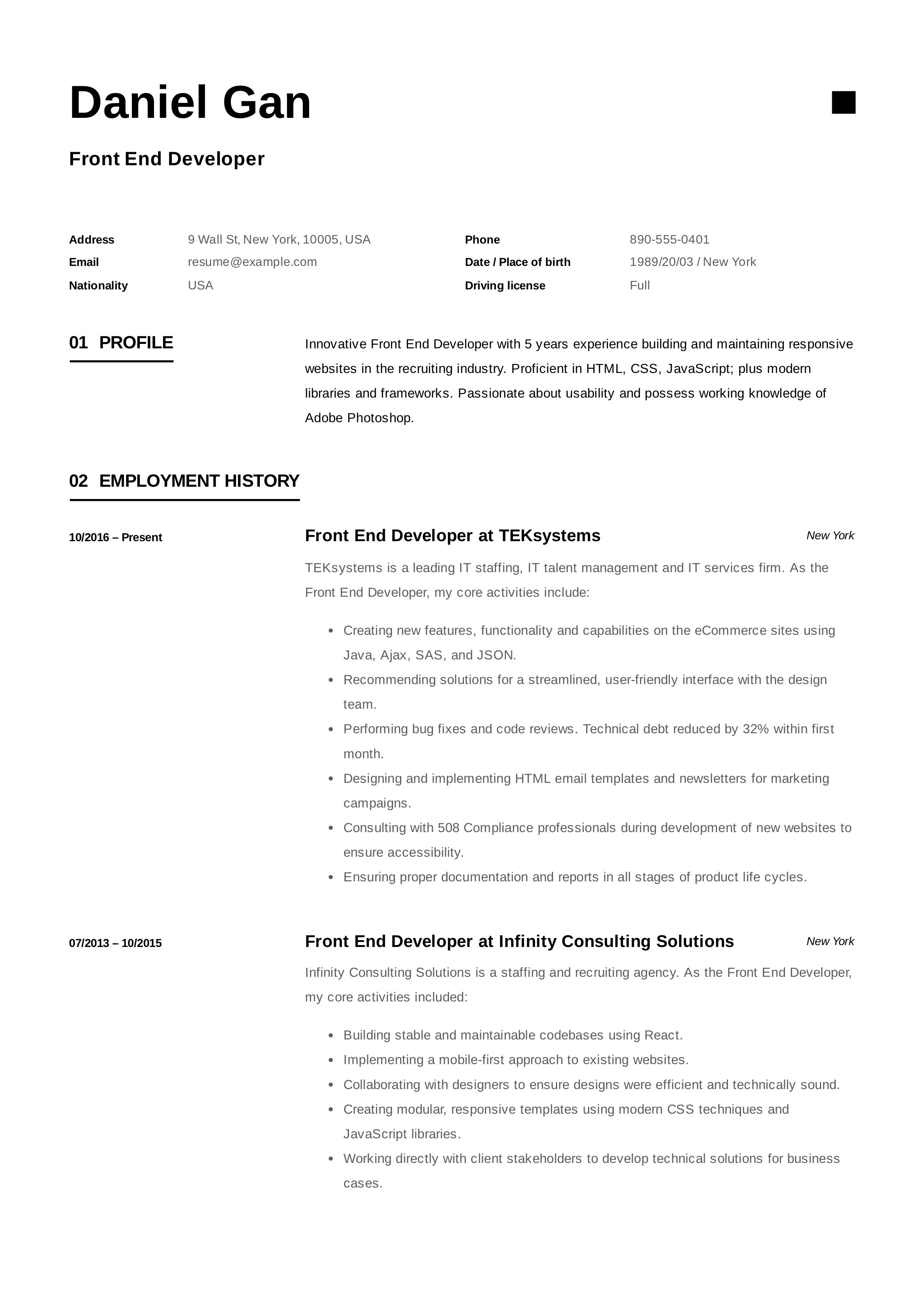 Front End Developer Resume Example Resume Examples Resume Resume Template
