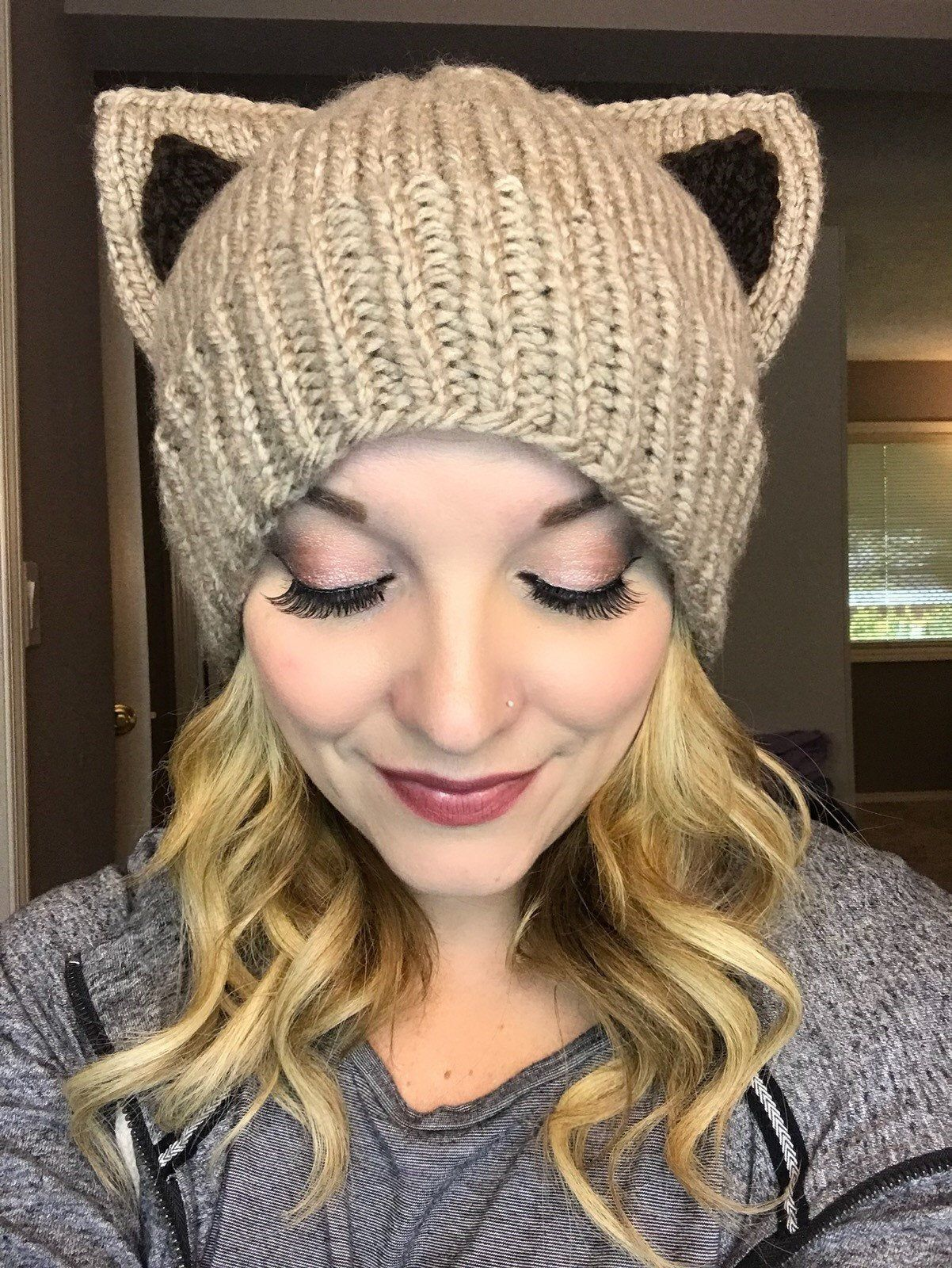 More Colors Cute Knitted Kitty Cat Hat Cat Ears Hat Cat Ear Etsy In 2021 Cat Hats Knitted Cat Ears Hat Crochet Applique Patterns Free