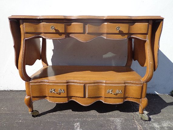 French Provincial Bar Cabinet Buffet Console Tea Cart Server