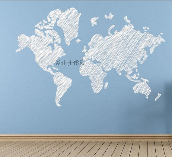 Name wall decals nursery name wall sticker monogram name wall vinyl world map wall decal large sketch map wall sticker white map of the world wall gumiabroncs Images