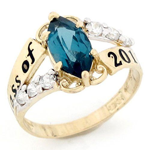 10k Gold Simulated December Birthstone 2016 Class Graduation Ring Want Additional Info Click On T Graduation Rings Womens Jewelry Rings Rose Gold Band Ring
