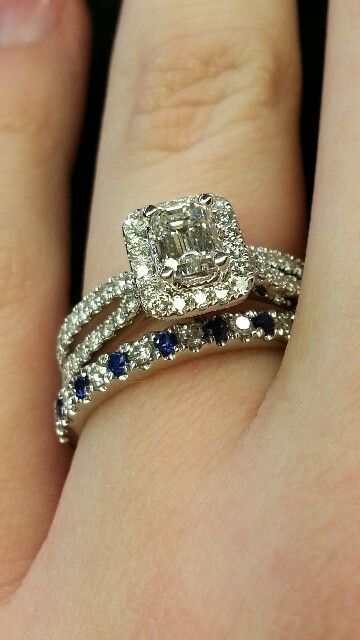 In Loooove With The Sapphire Wedding Band! Vera Wang Emerald Cut Halo  Setting Split Shank Engagement Ring And Pave Set Diamond Sapphire Band