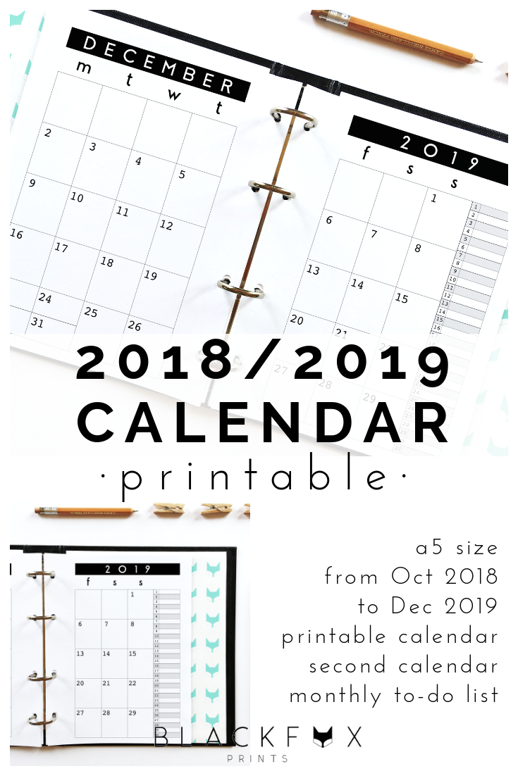 2019 Calendar Printable A5 Planner Inserts Month On 2 Pages