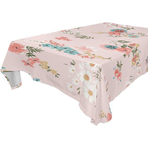 U LIFE Elegant Floral Roses Small Flowers Washable Tablecloths Table Cloth  Cover Protector For Wedding Party