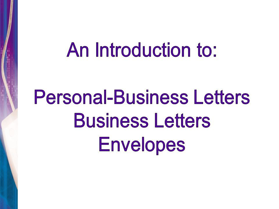 Personal Business Letters Envelopes Letter Template Powerpoint