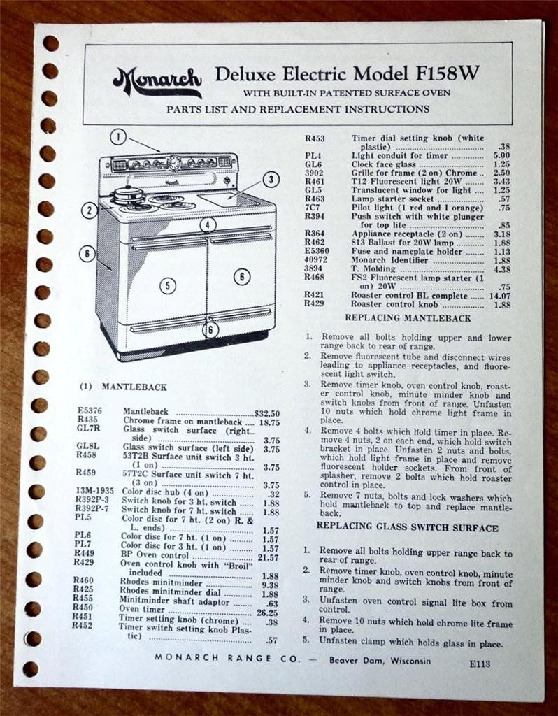 Monarch Deluxe Electric Range Model F158w With Built In Patented Oven Schematic Wiring Diagram Surface Parts List