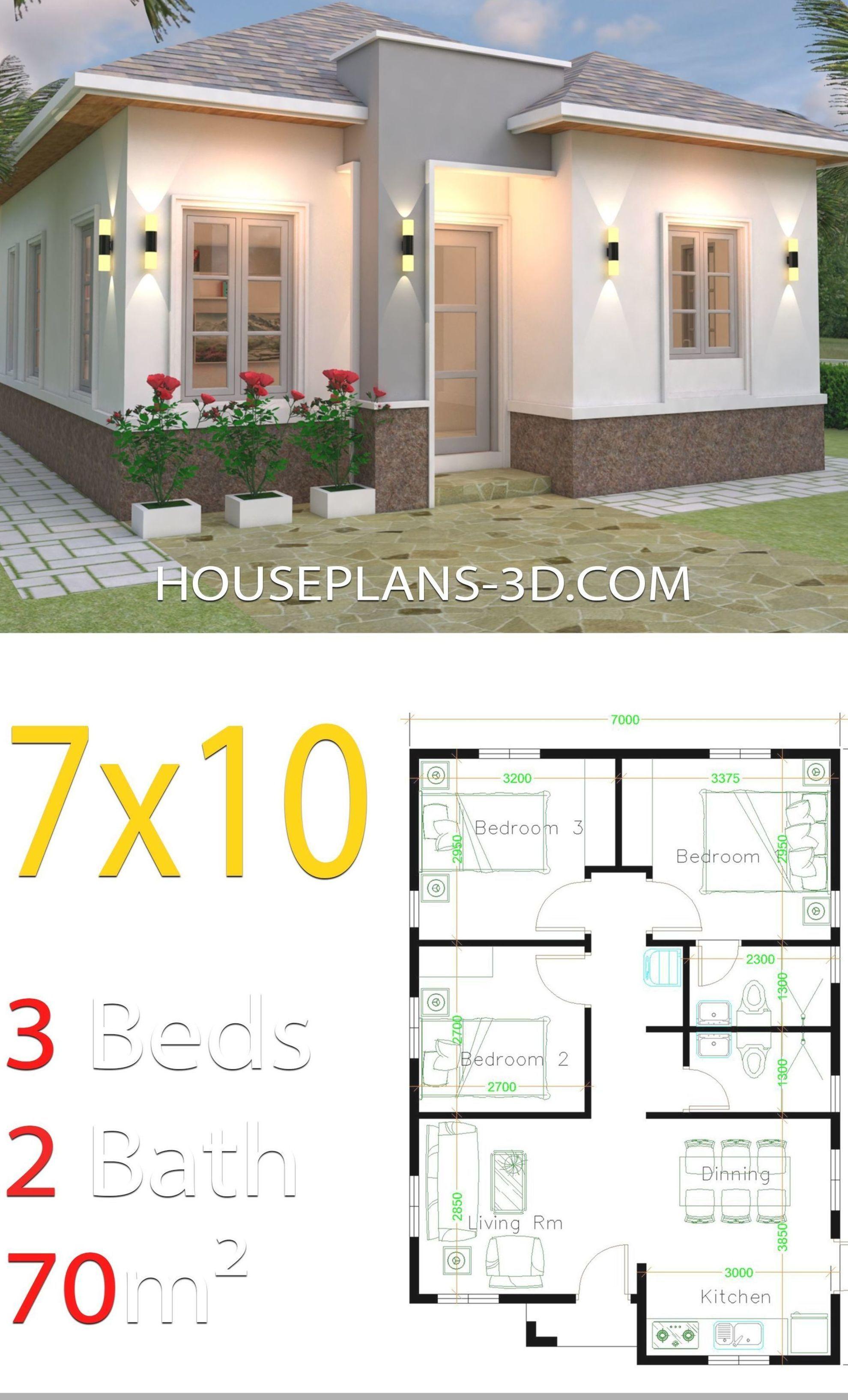 House Design 7x10 With 3 Bedrooms Hip Roof House Plans 3d Denah Rumah Denah Rumah Kecil Rumah Minimalis