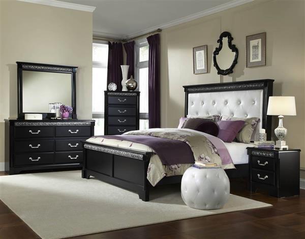 Venetian Traditional Black Wood Pu 5pc Bedroom Set W Full Queen Bed Bedroom Sets Furniture King Standard Furniture Black Bedroom Furniture Set
