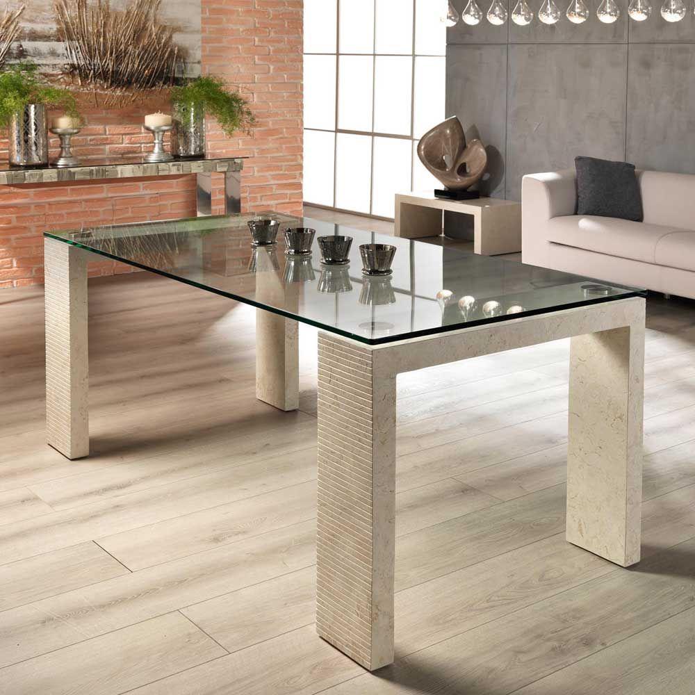 Stein Esstisch in Creme Glasplatte küchentisch,esszimmertisch ...