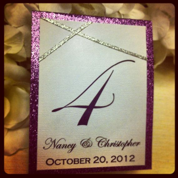 Purple and Silver Glitter Table Numbers for weddings by VPElegance, $2.85