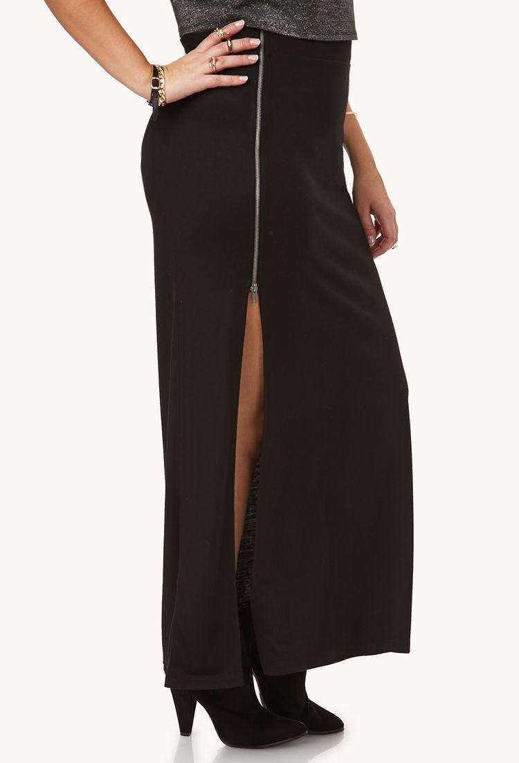Daring Darling Zippered Skirt | FOREVER21 PLUS Dare to show a little leg #Plus #MaxiSkirt #Slit