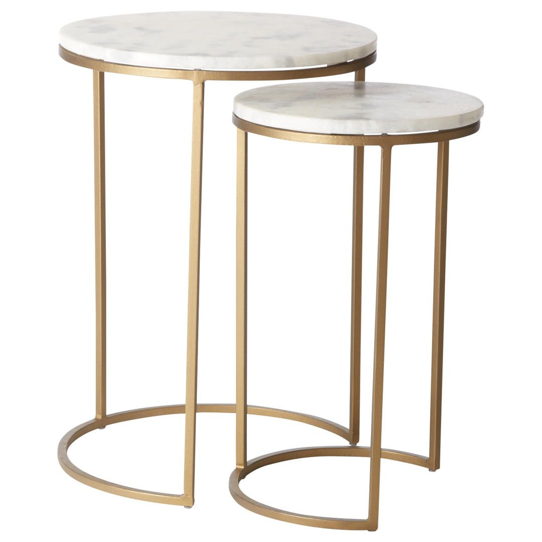 West elm round nesting side table marble antique brass antique