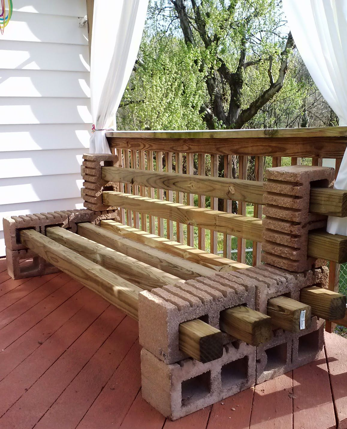 gartenbank selber bauen mit kantholz und betonblöcken | DIY happy ...