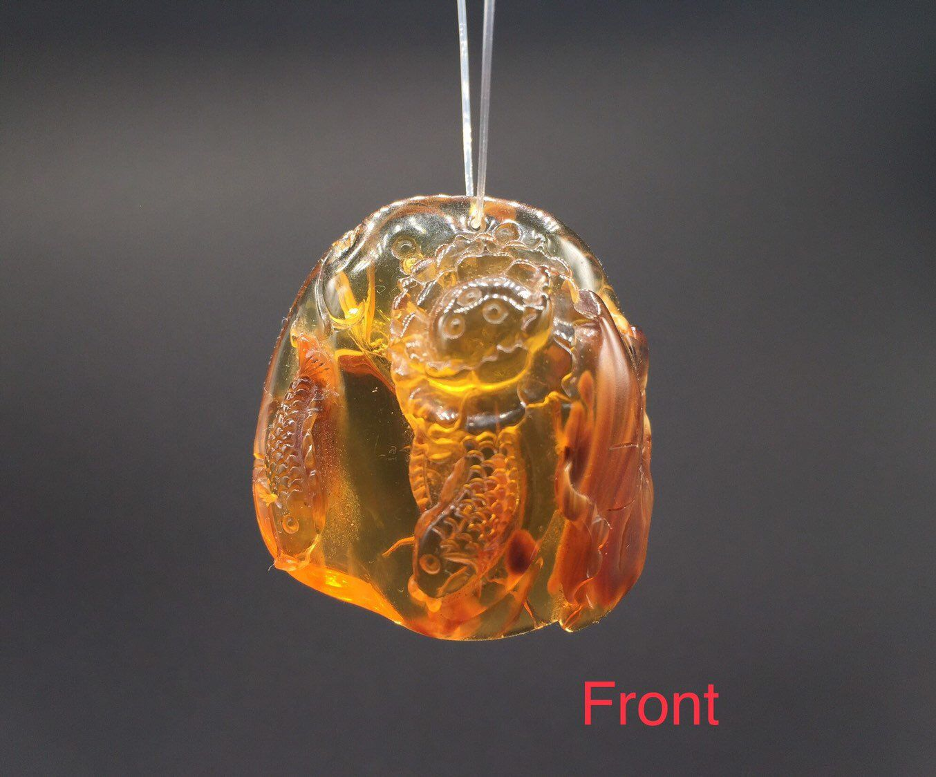 Genuine burmese amber hand carved double fishes with lotus