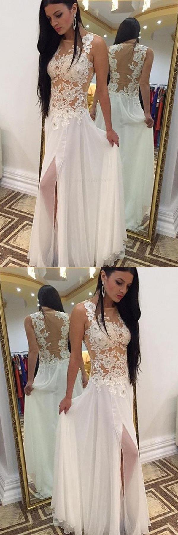 Prom dress white homecoming dress long sleeveless prom dress lace