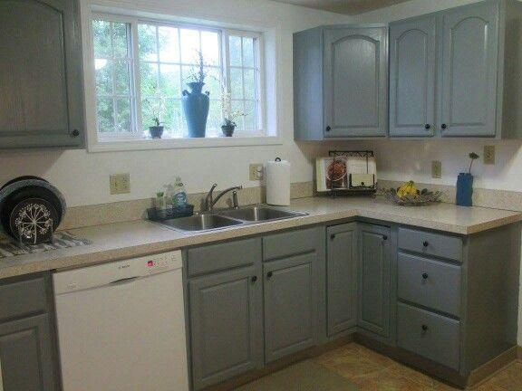 Behr gotham gray marquee paint painted over builder 39 s - Builder grade oak kitchen cabinets ...