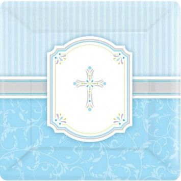 FIRST COMMUNION Holy Blue Cross Boy Party Tableware Supplies Plates Cups Napkins