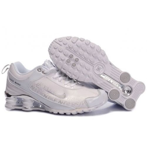 Discount Authentic Womens Nike Shox R4 Shoes White/Light Blue/Brilliant Silver