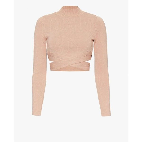 Jonathan Simkhai Crossover Knit Crop Turtleneck: Nude (675 BAM) ❤ liked on  Polyvore