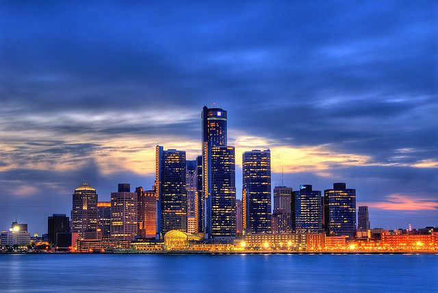 Detroit Dans Le Bleu Detroit Skyline Detroit Wallpaper Skyline