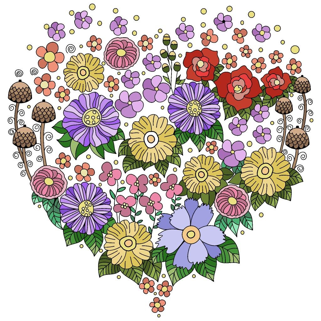 I Love Flowers Coloring Book App Coloring Books Colorful Art