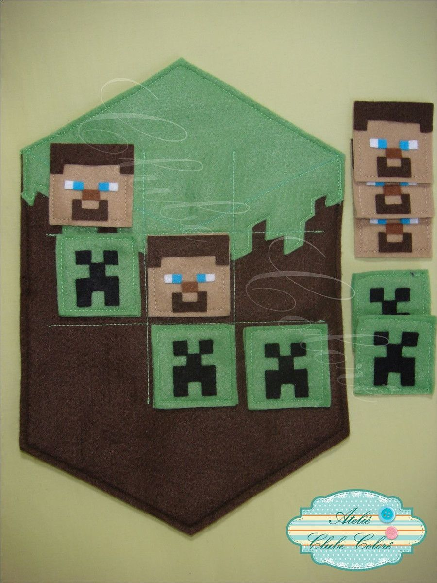 Minecraft Jogo Da Velha Atelie Clube Colore Elo7 Jogo Da Velha Minecraft Crafts Trabalhos Manuais