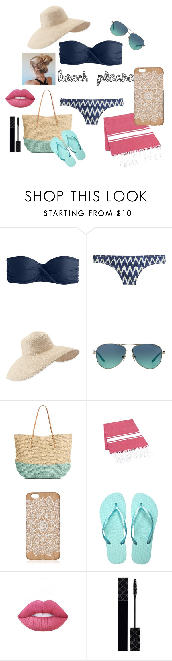 """""""beach please"""" by mmmescher on Polyvore featuring J.Crew, Eric Javits, Tiffany & Co., Target, Havaianas, Lime Crime and Gucci"""