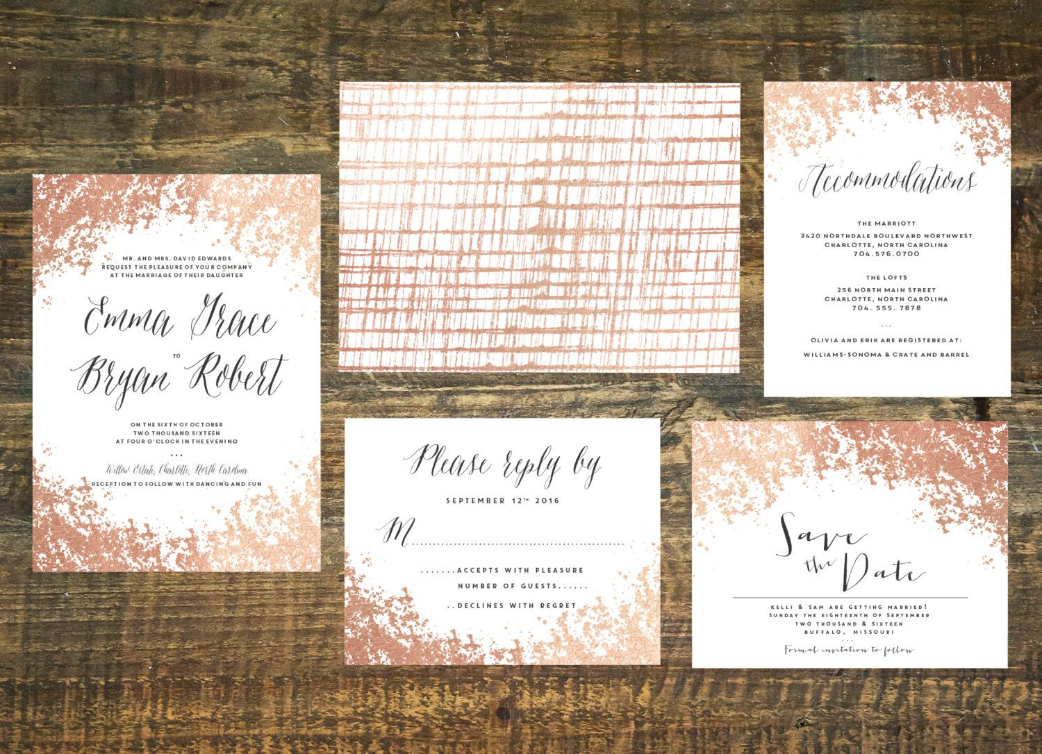 Printable Rose Gold Foil Wedding Invitation by TheWoolberryPress ...