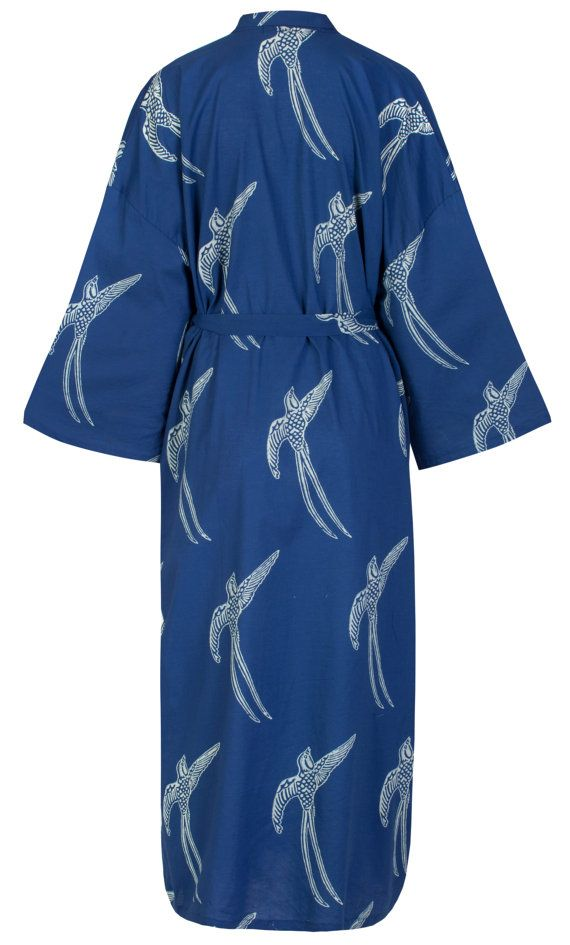 Top Seller! Cotton Kimono Robe - Dark Blue - Lightweight Cotton ...
