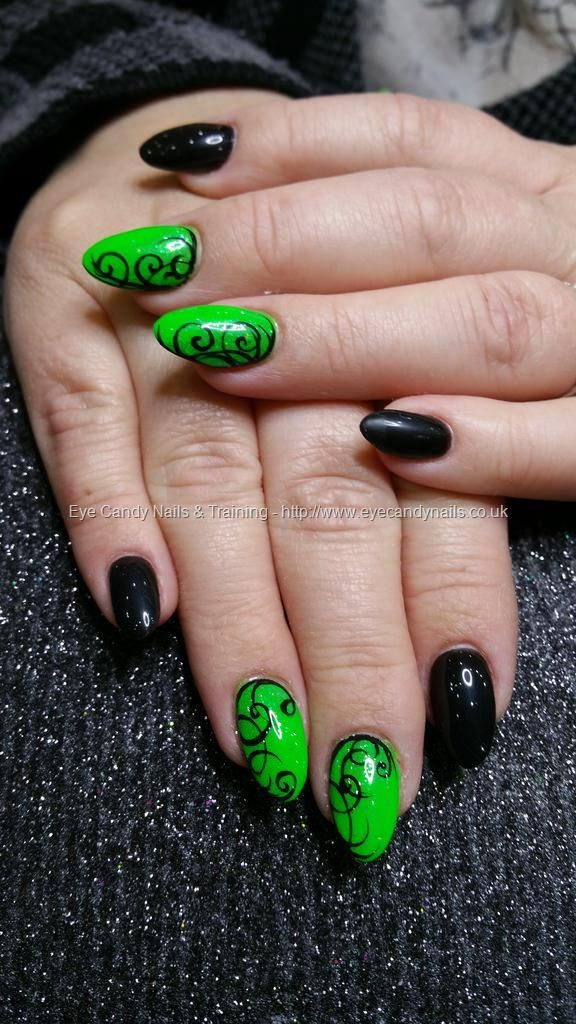 Neon green and black gel polish with black freehand swirl nail art neon green and black gel polish with black freehand swirl nail art nailart nails prinsesfo Choice Image