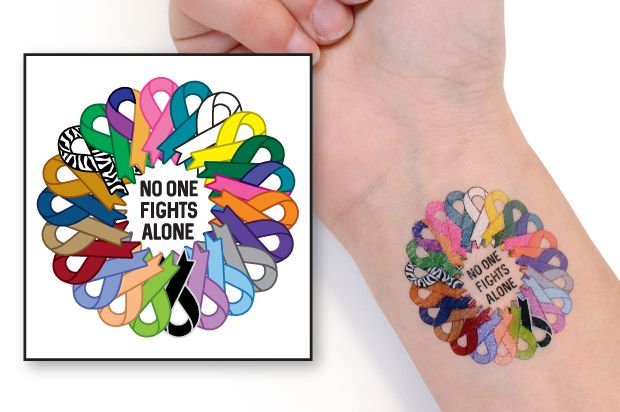 No One Fights Alone® Multi-Colored Ribbon Temporary Tattoo