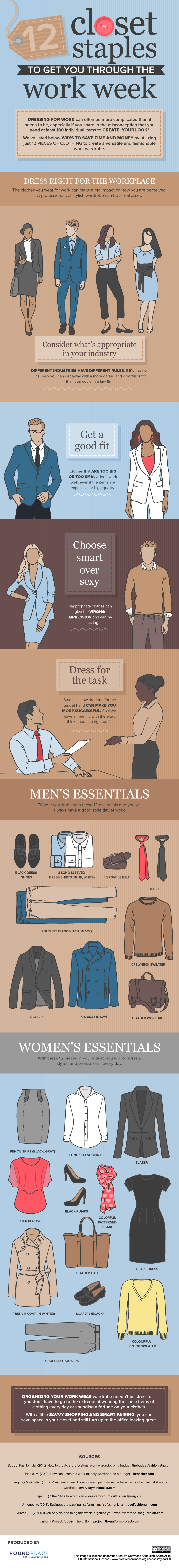 12 Closet Staples To Get You Through The Work Week #Infographic