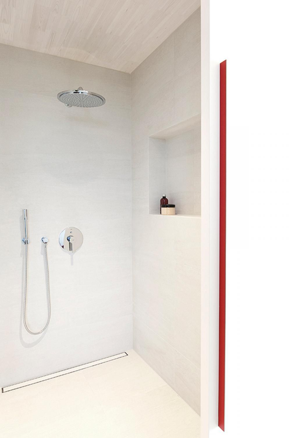 Minimalist Shower Room White Interior Red Accent Fantastic ...