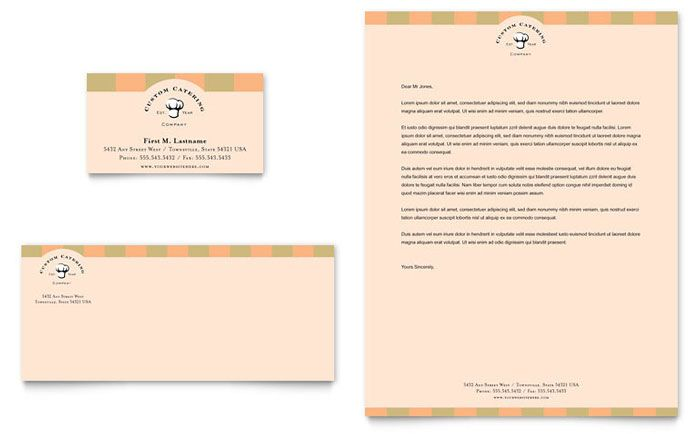 Catering Company Business Card And Letterhead Design Template By