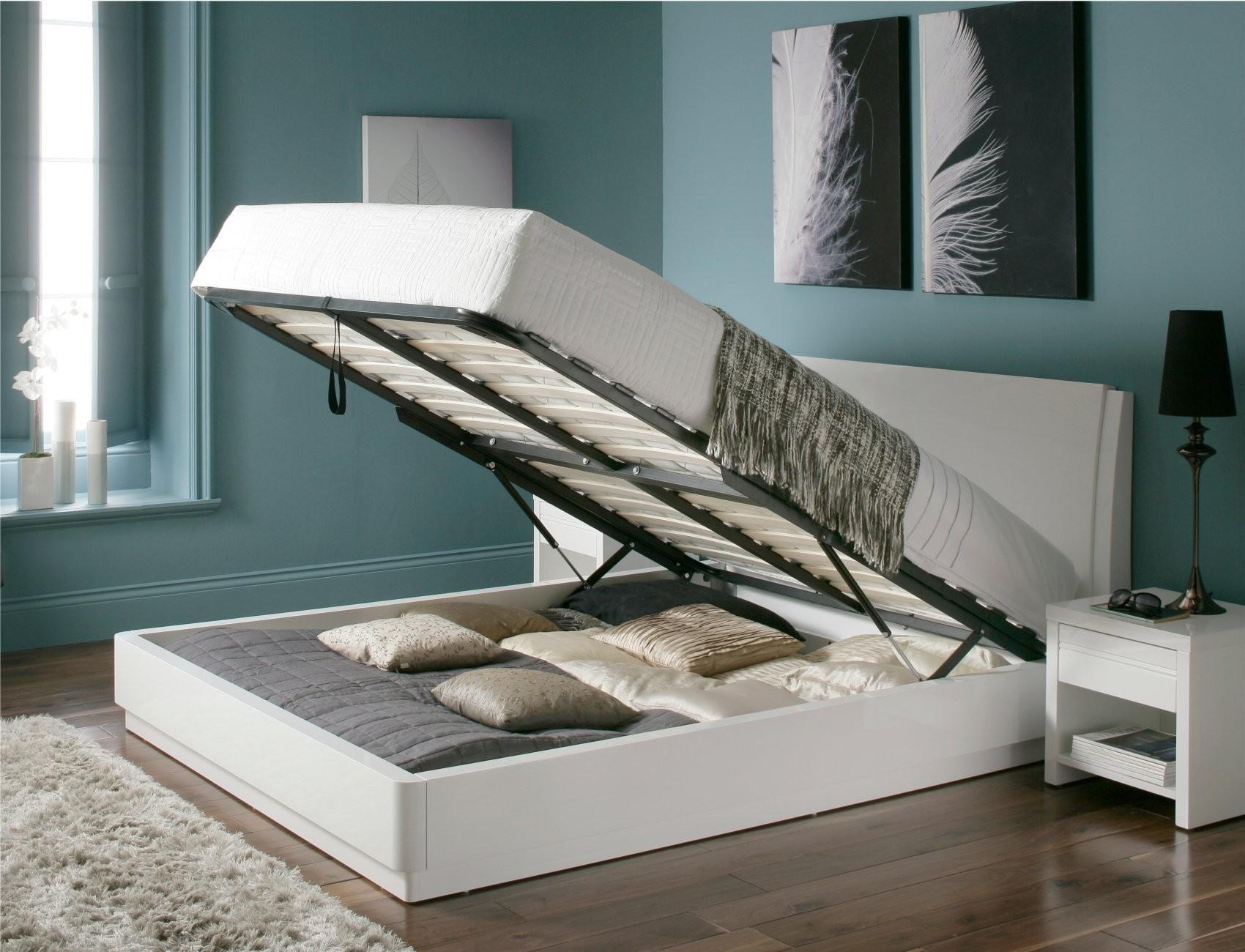 Aden High Gloss Ottoman Storage Bed – WHITE