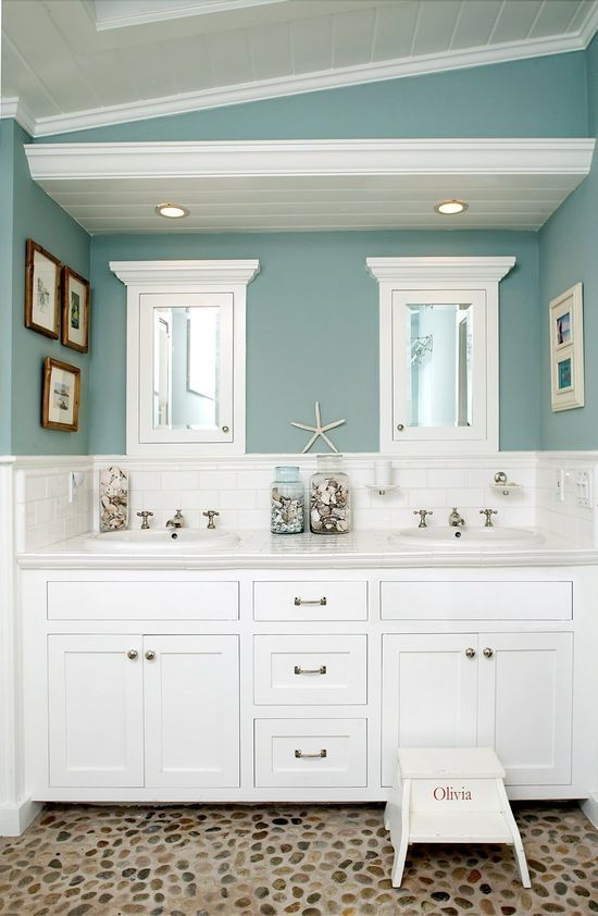 Exceptional Beach Bathroom Color Ideas Part - 1: Awesome Beach Theme Bathroom Redo For Kids Bathroom Or Guest Bathroom. And  Love The Wall Color!