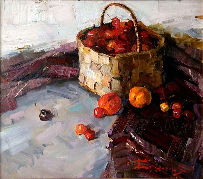 Владимир Баженов -  Vladimir Bazhenov  -  Натюрморт с черешней  – Still life with cherry   - 70х80 sm – 27.5x31.4 inch – oil on canvas