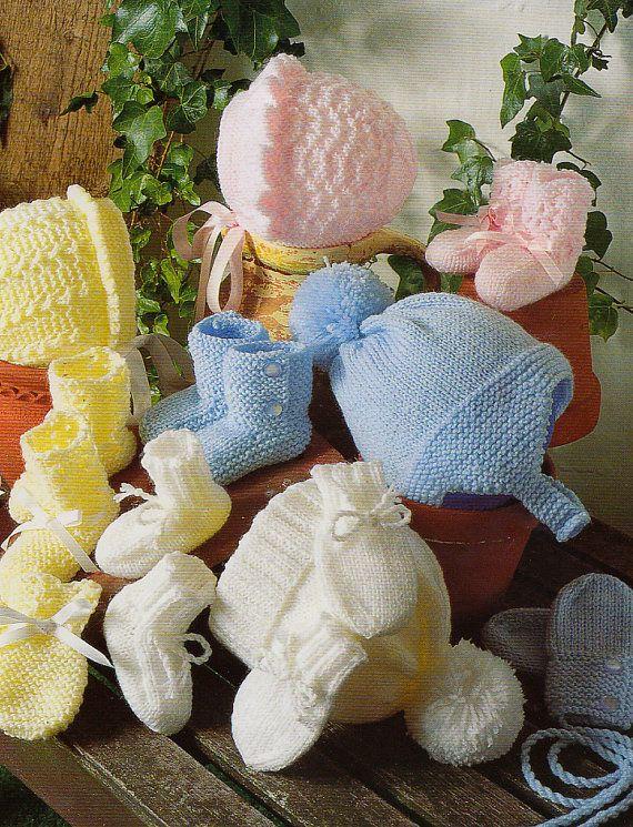 Vintage Knitting Pattern Pdf Baby Layette Set Booties Hats Lace