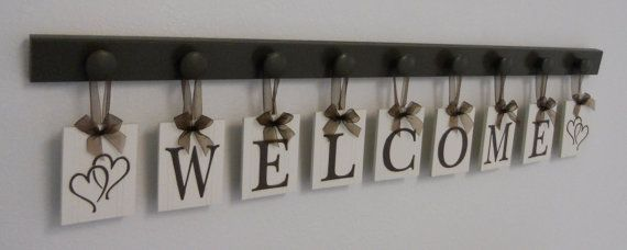 WELCOME Entry Sign Hanging Letters  9 Wood Knob  by NelsonsGifts
