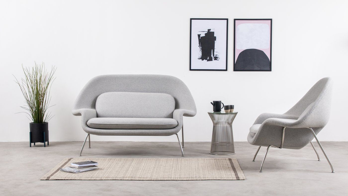Womb Settee - Womb Style Two Seater Sofa, Light Gray in 8