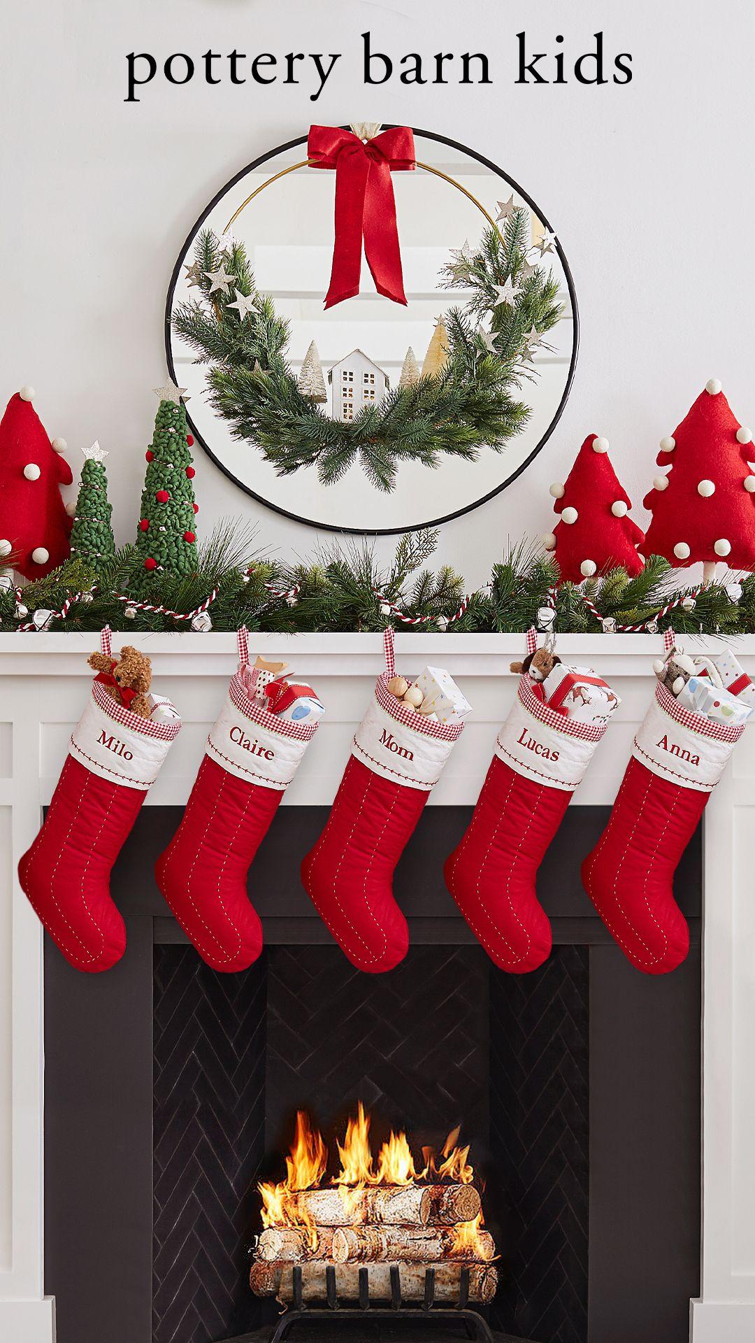 pottery barn christmas mantel on christmas mantel kids christmas stockings christmas stockings holiday stockings pinterest