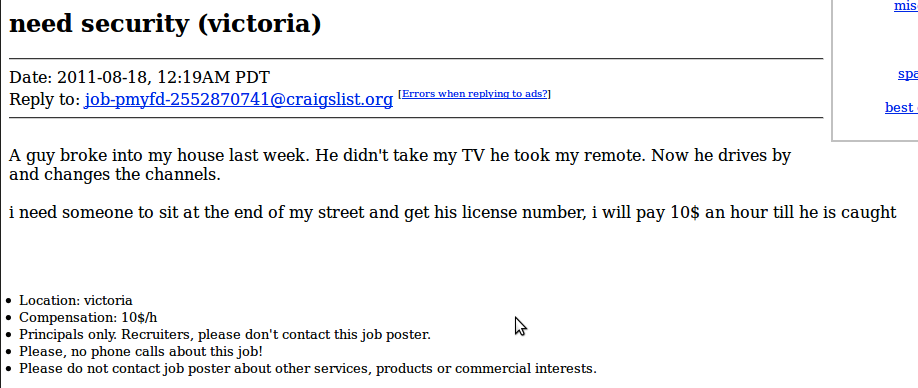 Utterly Insane Job Opportunities On Craigslist | Happy Place