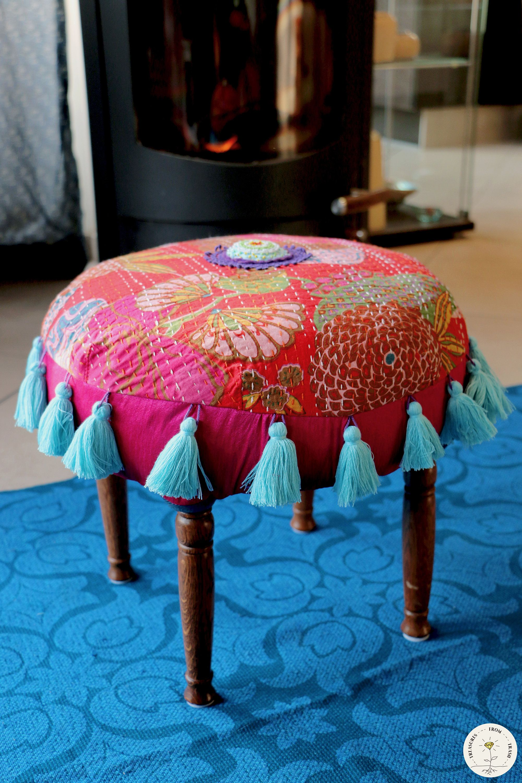 Red Upholstered Stool Bohemian Footstool Boho Pouf